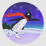 Skating Penguin Round Sticker