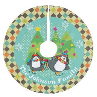 Skating Penguins And Christmas Trees Tree Skirt 2
