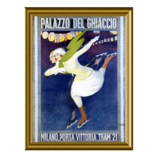 Skating Poster from Italy 1920s Postcards