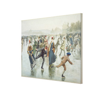 Skating, published by L. Prang and Co. Canvas Print