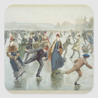 Skating, published by L. Prang and Co. Square Sticker