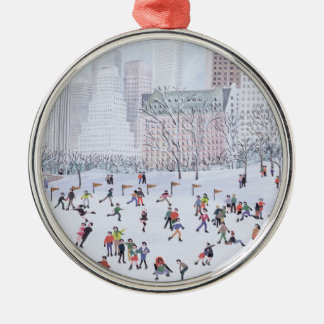 Skating Rink Central Park New York 1994 Round Metal Christmas Ornament