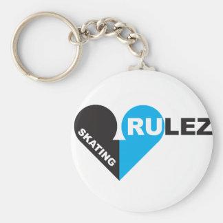 skating rulez basic round button keychain