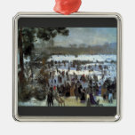 Skating runners in the Bois de Bologne by Renoir Christmas Tree Ornament