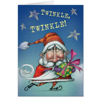 Skating Santa Greeting Card