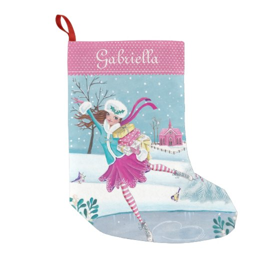 skating shopping girl christmas stocking - Girl Christmas Stocking