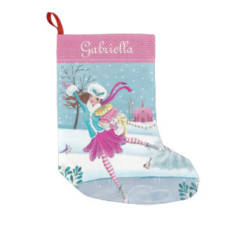 Skating Shopping Girl | Christmas Stocking Small Christmas Stocking