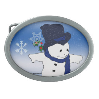 Skating Snowman in Blue Belt Buckle