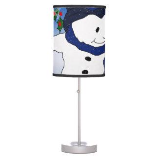 Skating Snowman in Blue Desk Lamp