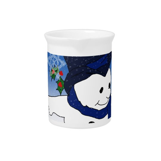 Skating Snowman in Blue Drink Pitcher