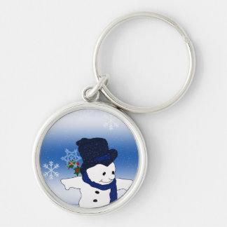 Skating Snowman in Blue Keychain
