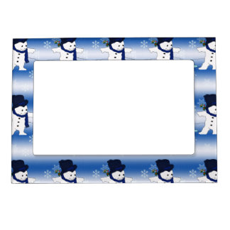 Skating Snowman in Blue Magnetic Picture Frame
