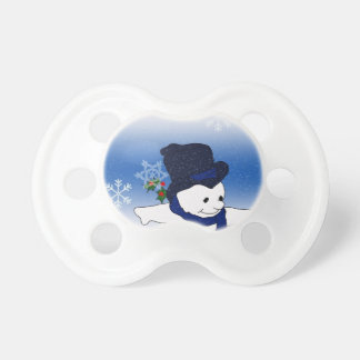 Skating Snowman in Blue Pacifier