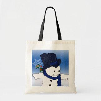 Skating Snowman in Blue Tote Bag
