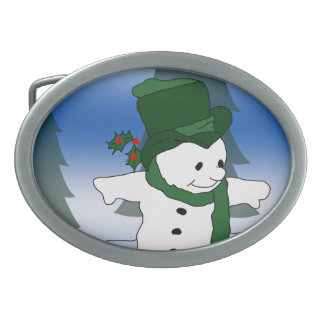 Skating Snowman in Green Oval Belt Buckle