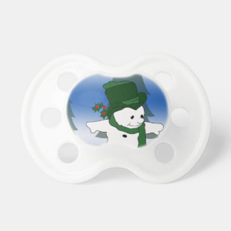 Skating Snowman in Green Pacifier