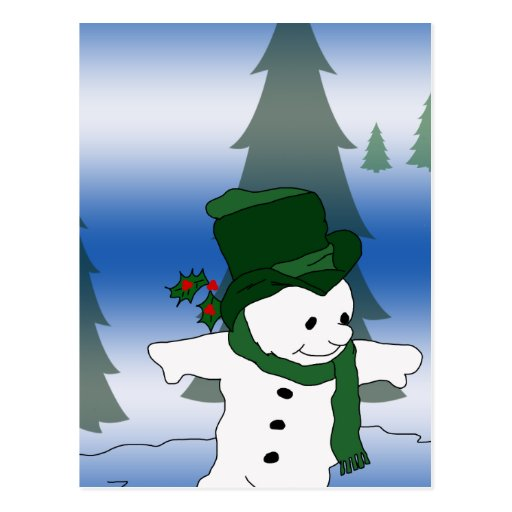 Skating Snowman in Green Postcard