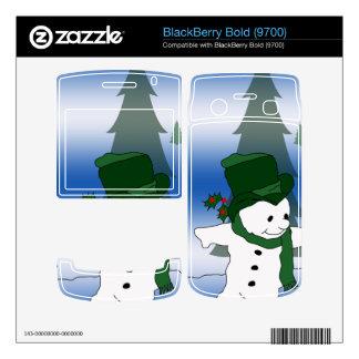 Skating Snowman in Green BlackBerry Bold Skin