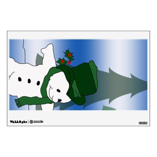 Skating Snowman in Green Wall Sticker