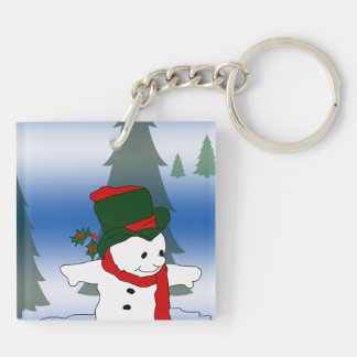 Skating Snowman in Red and Green Hat Keychain
