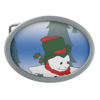 Skating Snowman in Red and Green Hat Oval Belt Buckle