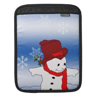 Skating Snowman in red iPad Sleeve