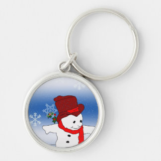 Skating Snowman in red Keychain