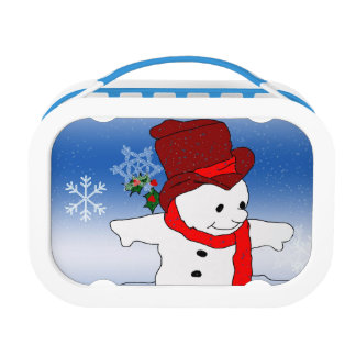 Skating Snowman in red Lunch Box