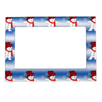 Skating Snowman in red Magnetic Photo Frame