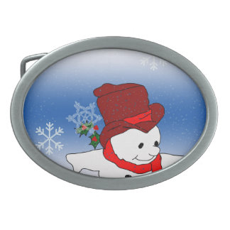 Skating Snowman in red Oval Belt Buckle