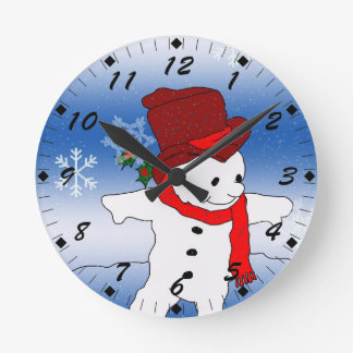 Skating Snowman in red Round Clock