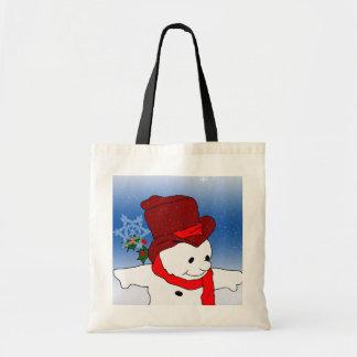 Skating Snowman in red Tote Bag