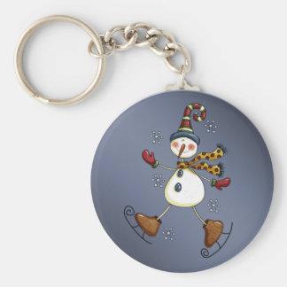 skating snowman keychain