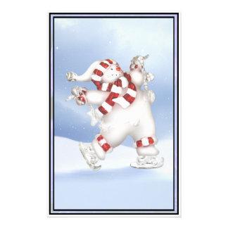 Skating Snowman Stationary Stationery
