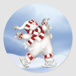 Skating Snowman Sticker