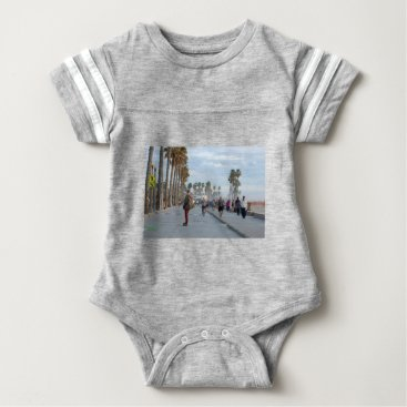 Beach Themed skating to venice beach baby bodysuit