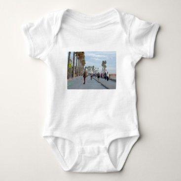 Beach Themed skating to venice beach baby bodysuit