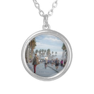 Beach Themed skating to venice beach silver plated necklace