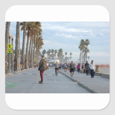 skating to venice beach square sticker