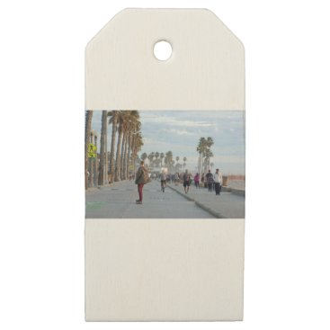 Beach Themed skating to venice beach wooden gift tags