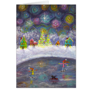 Skating Under the Starry Sky Stationery Note Card