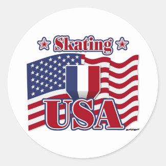 Skating USA Round Sticker