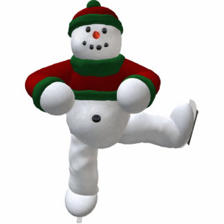 Skating Vintage Snowman Statuette