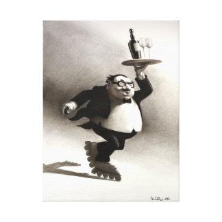 Skating Wine Waiter Canvas Print