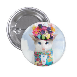 Skeezix the Cat Easter Bunny Button