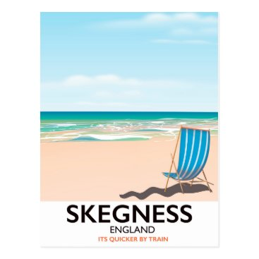 Beach Themed skegness vintage train travel poster. postcard