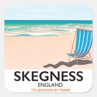 skegness vintage train travel poster. square sticker