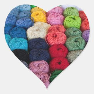 Skeins of yarn heart sticker