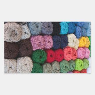 Skeins of yarn rectangular sticker