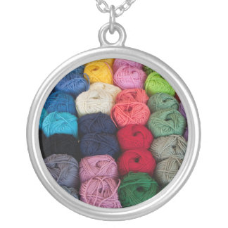 Skeins of yarn silver plated necklace